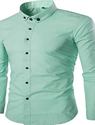 Men's Wedding Going out Work Sexy Cute Chinoiserie Fall Shirt,Solid Peter Pan Collar Long Sleeves Cotton Medium