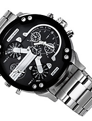 Men's Military Watch Dress Watch Fashion Watch Wrist watch Calendar Dual Time Zones Punk Quartz Alloy Band Charm Cool Casual LuxuryBlack