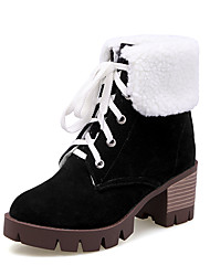 Women's Boots Fall Winter Comfort Ankle Strap Fleece Fur Office & Career Casual Athletic Chunky Heel Lace-up Black Yellow Green Gray