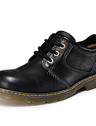 Men's Oxfords Fall Jelly Leather Outdoor Office & Career Athletic Flat Heel Others Black Khaki Others