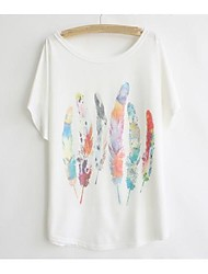 Women's Casual/Daily Simple / Cute Summer T-shirt,Print Round Neck Short Sleeve White Cotton Thin