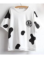 Damen Druck Einfach Lässig/Alltäglich T-shirt,Rundhalsausschnitt Sommer Kurzarm Weiß / Schwarz Baumwolle