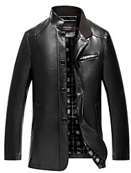 Men's Casual/Daily Simple Leather Jackets,Solid Stand Long Sleeve Winter Black / Brown PU Thick