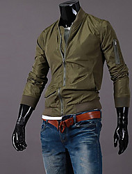 Men's Going out / Casual/Daily / Sports Simple / Active Jackets,Solid Stand Long Sleeve All Seasons Black / Green Cotton Medium