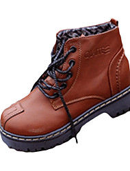 Women's Boots Fall / Winter Platform / Others PU Outdoor / Dress / Casual Chunky Heel Others / Lace-up Tan Walking