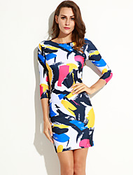 Women's Colorful Graffiti Print Sleeved Bodycon Dress