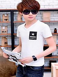 Tee-shirt Hommes,Couleur Pleine Décontracté / Quotidien simple Eté Manches Courtes Col en V Blanc / Noir Coton Fin