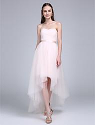 LAN TING BRIDE Asymétrique Coeur Robe de Demoiselle d'Honneur - Robe Convertible Sans Manches Tulle