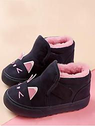 Girl's Boots Winter Others Fleece Outdoor Flat Heel Animal Print Hook & Loop Black Pink Others