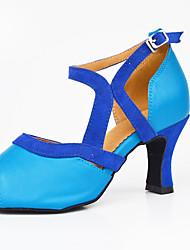 Chaussures de danse(Noir / Bleu) -Personnalisables-Talon Bottier-Similicuir-Latine / Jazz / Baskets de Danse / Moderne