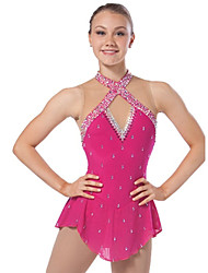 Ice Skating Dress Women's Sleeveless Skating Dresses High Elasticity Figure Skating Dress Breathable / Comfortable Lace Elastane Red