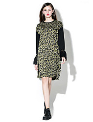Women's Plus Size Vintage Tunic Dress,Print Round Neck Knee-length Long Sleeve Gray / Green Cotton / Polyester Fall Mid Rise Micro-elastic
