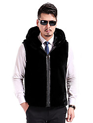 Men's Plus Size Street chic Fur Coat,Solid Hooded Sleeveless Winter Black Goatskin Thick