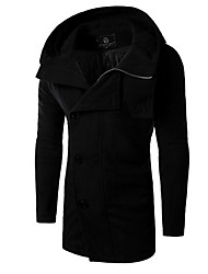 Men's Casual/Daily Simple Trench Coat,Solid Shirt Collar Long Sleeve All Seasons Black Wool Medium