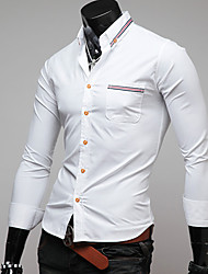 Masculino Camisa Informal / Casual Simples / Moda de Rua Inverno,Sólido / feito à mão Azul / Branco Poliéster Colarinho ClássicoManga
