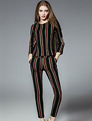 Damen Gestreift Einfach Lässig/Alltäglich T-shirt Hose Anzüge,Rundhalsausschnitt Herbst / Winter Langarm Schwarz Baumwolle