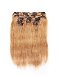7 pièces / set clip dans les extensions de cheveux brun cendré 14inch 18inch cheveux 100% pour les femmes