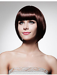 Elegant Office Ladies Wearing Wig Short Dark Brown with Full Bang Heat Resistant Synthetic Wig Bobo Hairstyle Natural Looking
