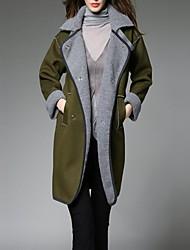 Feminino Casaco Informal / Casual Simples Outono / Inverno,Sólido Preto / Verde Lã / Poliéster Colarinho de Camisa-Manga Longa Grossa