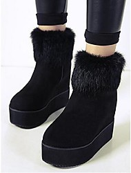 Women's Boots Winter Platform PU Fur Casual Platform Black Walking