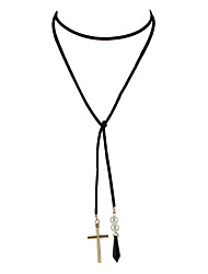 Gothic Style Black Long Chain Necklace with Cross Pendant