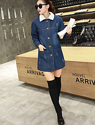 Women's Going out / Casual/Daily Simple / Street chic Denim Jackets,Solid Notch Lapel Long Sleeve Fall / Winter Blue Others Medium