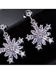 Stud Earrings AAA Cubic Zirconia Zircon Cubic Zirconia Copper Chrismas Classic White Jewelry Wedding Casual 1 pair