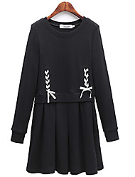 Fashion Large Size Women Long Sleeves Round Neck Loose Was Thin Fake Two Dress