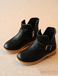 Girls' Boots Spring Fall Winter Comfort Cowhide Casual Black Pink