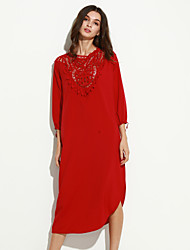 Women's Casual/Daily Sophisticated Loose Dress,Patchwork Round Neck Maxi Long Sleeve Red / Black Polyester Fall