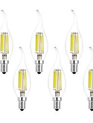 6W E14 Ampoules à Filament LED CA35 6 COB 560 lm Blanc Chaud Blanc Froid AC 100-240 V 6 pièces