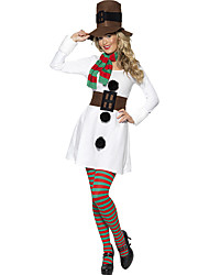 Cosplay Costumes Santa Suits Movie Cosplay White Solid Dress / Hats Christmas Female Polyester