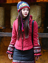 OUR STORY Women's Embroidery Plus Size / Casual/Daily Boho JacketsPrint Hooded Long Sleeve Winter Red Cotton / Polyester