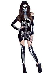 X-rayed Halloween Off-shoulder Skeleton Dress Costume