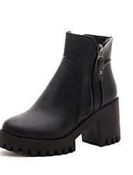 Women's Boots Winter Platform PU Casual Wedge Heel Platform Zipper Black Gray Walking