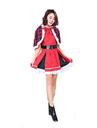 Cosplay Kostuums Kerstmanpakken Film Cosplay Rood Geruit Kleding / Shawl / Riem Kerstmis Vrouwelijk Polyester