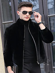 Men's Casual/Daily Simple Jackets,Patchwork Standing Collar Long Sleeve Winter Black Faux Fur Medium