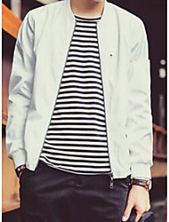 Men's Casual/Daily Vintage / Street chic Jackets,Solid Long Sleeve White / Black Cotton