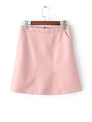 Women's A Line Solid Skirts,Casual/Daily Simple High Rise Above Knee Zipper PU Inelastic Fall / Winter