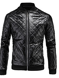 Men's Casual/Daily Simple Leather Jackets,Solid Stand Long Sleeve Winter Black / Brown PU Medium