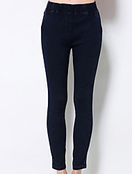 Damen Übergrössen Skinny Jeans Hose-Lässig/Alltäglich Einfach einfarbig Mittlere Hüfthöhe Elastizität Polyester / Nylon / Elasthan
