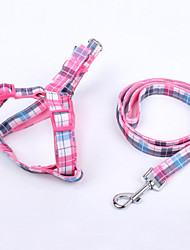 Dog Harness / Leash Adjustable/Retractable / Safety / Soft Plaid/Check Green / Blue / Pink Fabric / Nylon