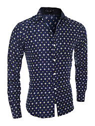 Men's Casual/Daily Simple Shirt,Floral Square Neck Long Sleeve Blue / White Cotton