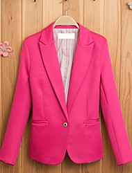 Women's Winter Blazer,Solid Square Neck Long Sleeve Blue / Pink Cotton Thin