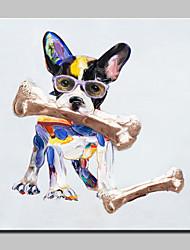Pintados à mão Animal / Pop Pinturas a óleo,Modern 1 Painel Tela Hang-painted pintura a óleo For Decoração para casa