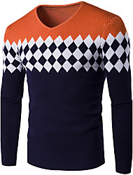 Men's Casual/Daily Simple Regular Pullover,Solid Blue Red Gray Orange Round Neck Long Sleeve Cotton Acrylic Winter Medium Stretchy