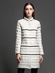 ANGEL Women's Regular Padded CoatSimple Casual/Daily Striped-Nylon Polypropylene Long Sleeve Turtleneck Gray