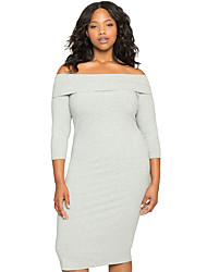 Women's Gray Ribbed Off the Shoulder 3/4 Long Sleeves Plus Dress