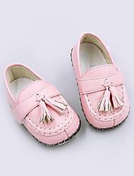 Mädchen Baby-Loafers & Slip-Ons-Lässig-Schweineleder-Flacher Absatz-Lauflern-Braun Gelb Rosa Rot Weiß