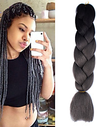 "Preto cinza escuro ombre crochet 24 ""yaki kanekalon fibra 2 tom 100g jumbo tranças cabelo sintético"
